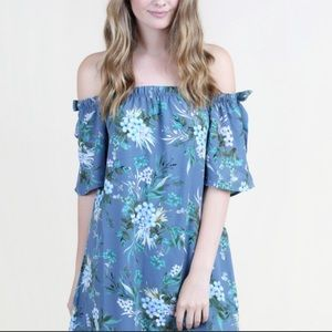 NWT Alter'd State Navy Floral Off Shoulder Dress